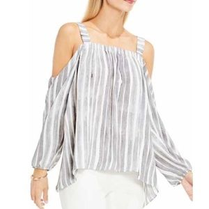 NEW VINCE CAMUTO Gray Strip Cold Shoulder Top PXS